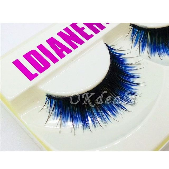1 Pair of HOT Fashion Long Black Blue False Eyelashes Beautiful Makeup Eye Lashes Make Up Beauty Tools 3