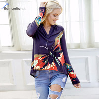 Romantichut Elegant Casual Plus Size 2018 New Women S Print Tops Floral Print V Neck Long