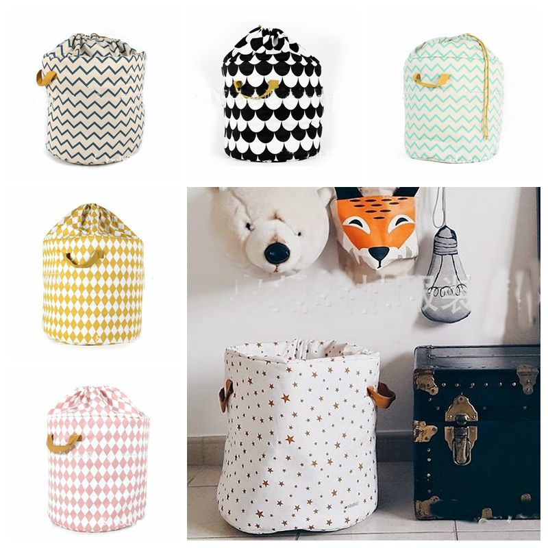 Zakka Large Storage Bag Kid Toys Organizer Clothes Shoes Laundry Bag Children Baby Play Mat Stripes