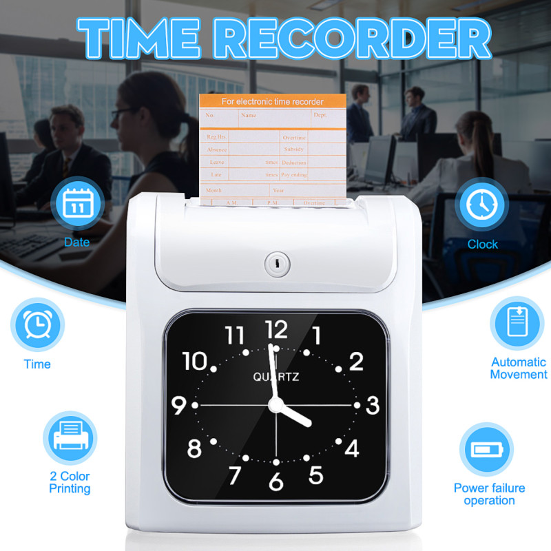 Time Attendance System Clock Recorder Dual color Printing Electronic Employee Time Clock Recorder Attendance Time Card Machine
