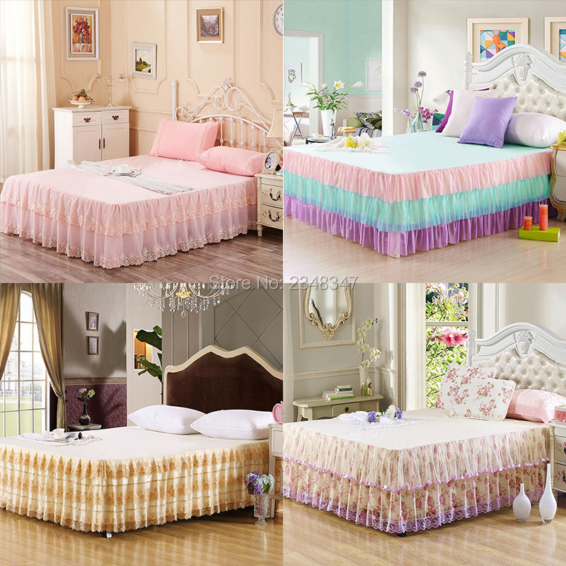 Princess Style Lace Multi-Layer Ruffled Tulle Bedding Bed Skirt Bedsheet Bedspread Mattress Coverlet Full/Queen Size Pink Flora
