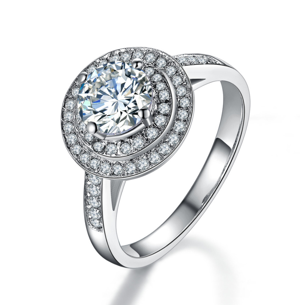 Brilliant Hand Setting High Qualilty 1ct Female Wedding Ring 925 Sterling Silver  Engagement Ring For Her White Gold Color