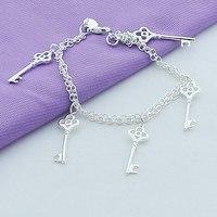 Simple Friendship Bracelets Silver Plated Key Pendant Bracelets With European Style Girl Bracelet Jewelry