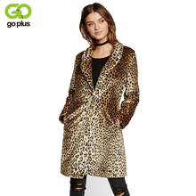 GOPLUS Europe Fashion Women Midum-Long Faux Fur Leopard Coat Jacket Casaco De Pele Falso Coats Veste Fourrure