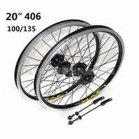 20 pouces 406 pliant vélo casette roues v frein/freins à disque double jante en alliage d'aluminium scellé roulement roues 28 trous