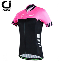Reflective Cheji Orginal Pink-Black Womens Cycling Jersey Biking T-Shirts Bicycle Maillot Top S-XXL