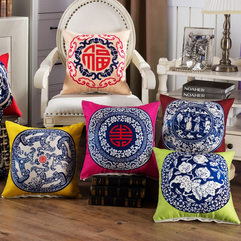 Chinese Geometric Cushion Cover Blue White Porcelain Vintage Pillow Covers Cotton Linen Chair Sofa Seat Decorative Throw Pillows