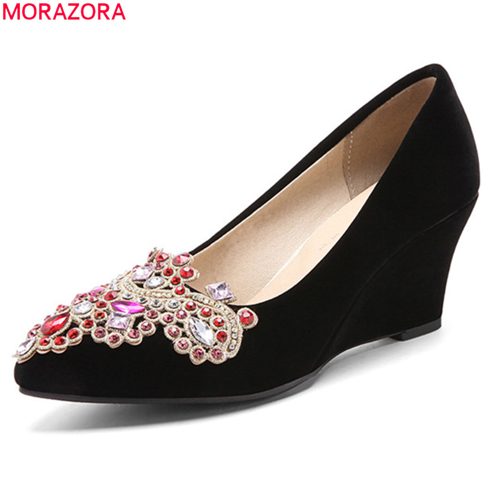 MORAZORA black red fashion spring autumn shoes woman pointed toe shallow elegant wedding shoes wedges women high heels shoes keaiqianjin woman wedges shoes shallow pointed toe red wedding pumps spring autumn genuine leather ultra high heels shoes 2018