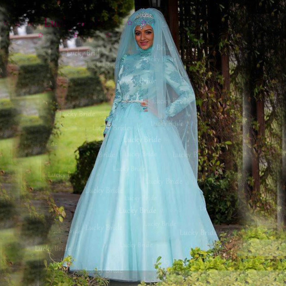 Turquoise Lace Muslim Wedding Dress 2017 With Crystal Belt