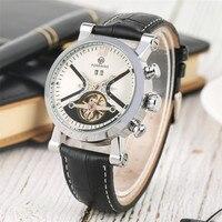 FORSINING Relógios Tourbillon Mens Relógio Automático Dos Homens Mecânicos Preto Genuíno Couro Relógio de Pulso Marca Top de Luxo Relógio Masculino|Relógios mecânicos| |  -