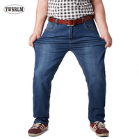 YWSRLM New Men S Jeans Man Casual Large Size Men Denim Jeans Middle Waist Straight Solid