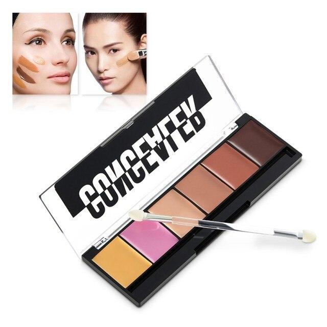 Натуральный лица Фонд корректор Палитра макияжа 6 цветов Cream Matte контуров лица косметический набор контур косметические