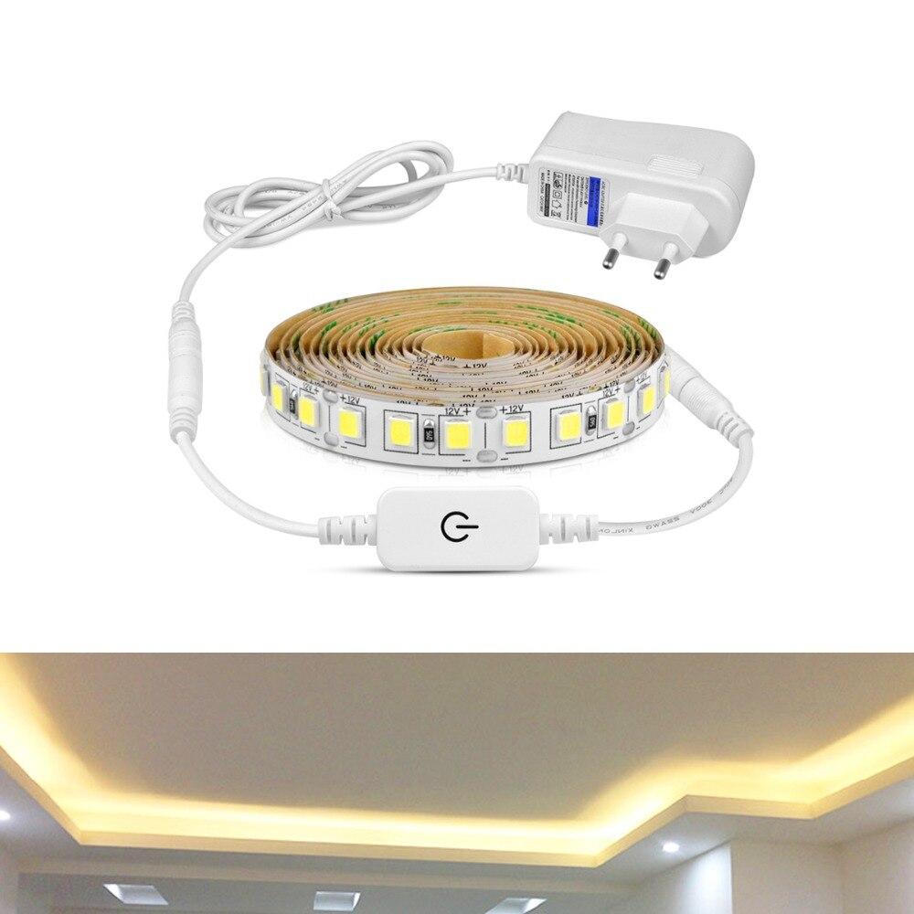 100% Vrai Ultra Lumineux 5 M Tira Led Sous Armoire Cuisine Lumière Dimmable Tactile Led Bande Lampe 4040 110 V 220 V Pour Armoire Placard éclairage Design Professionnel