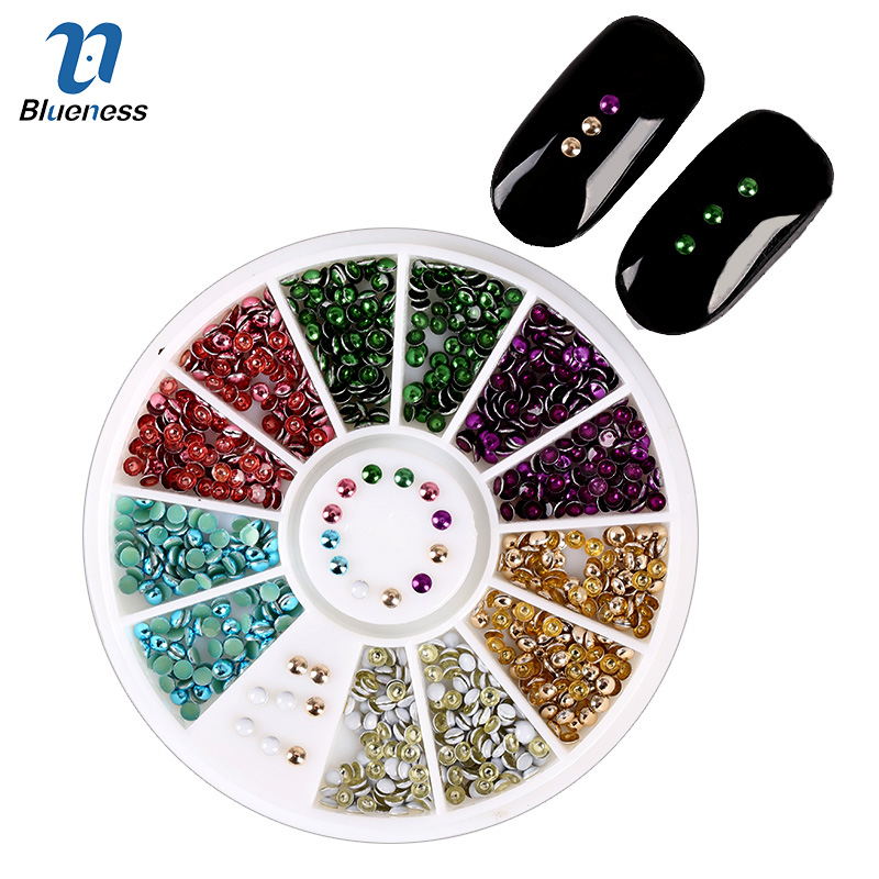 6 Shiny Color Metal Plating Beads Design Tips DIY Glitter Wheel Manicure 3D Nail Art Decorations For Charms Nails ZP011 mioblet 2g box mirror effect nail glitter powder shiny rose gold purple mirror chrome powder dust nails art pigment diy manicure