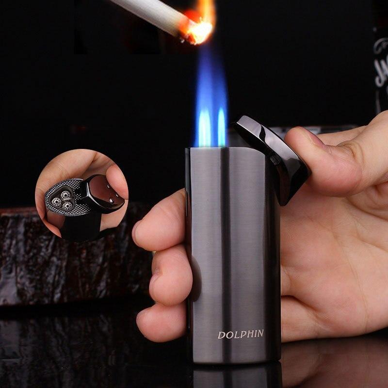 Powerful Jet Butane Pipe Lighter Torch Turbo 3 Fire Cigarette 1300 C Windproof Cigar Lighter NO Gas