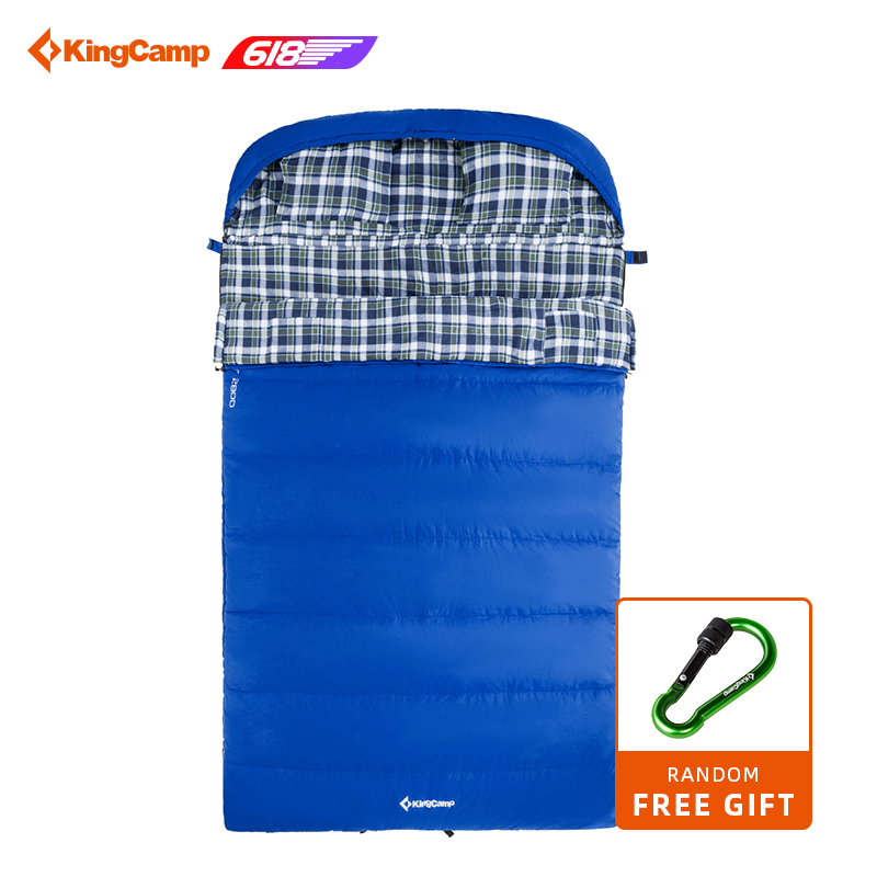 KingCamp Comfort Series All Season 5F/ 15C Poly cotton Shell Cotton Flannel Lining Double Layer Square Sleeping Bag for Camping