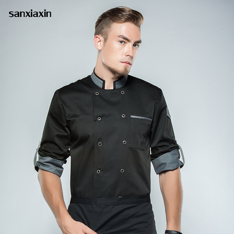 Sanxiaxin Chef Workwear Restaurant BBQ Chef Long Sleeves Restaurant Uniform Chef Clothes Hotel Uniform Long Sleeves Chef Coat