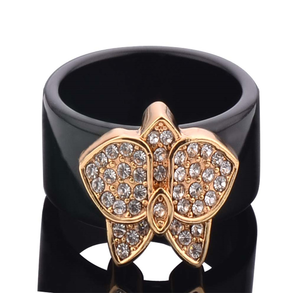 Modyle 2018 Fashion Thin Black Line Ring Wedding Brand Tungsten Butterfly Ring for Women Black colorFilled Unique Ring Jewelry