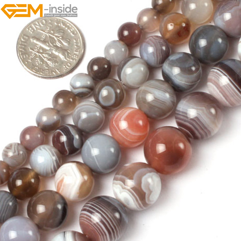 Gem-inside 6-12mm Natural Stone beads Round Botswana Sardonyx Agates Beads For Jewelry Making Beads 15inch DIY Beads Jewellery 8mm 6 12 color including buddha skull beads elastic string beads set round natural stone beads for jewelry making bracelet diy