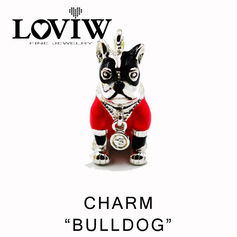 Pink French Bulldog Charm,Women style Charm Party Good Jewerly For Ladies,2017 NEW Gift In Silver,LOVIW,Fit Bag