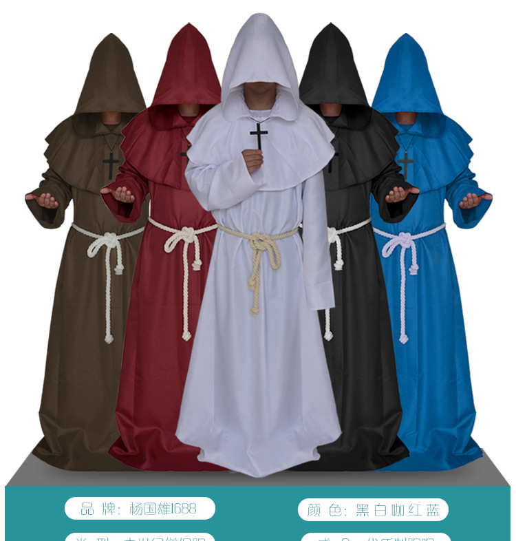Medieval Monks Cosplay Costumes Shaman Switch Priest Robes Church Father Cloak Halloween Friar Cape Christian Priest Long Dress