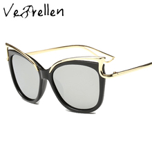 VeBrellen Fashion UV400 Oculos de Sol Women Goggles Sun Glasses Metal Frame Polarized Women Cat Eye Sunglasses  VJ111