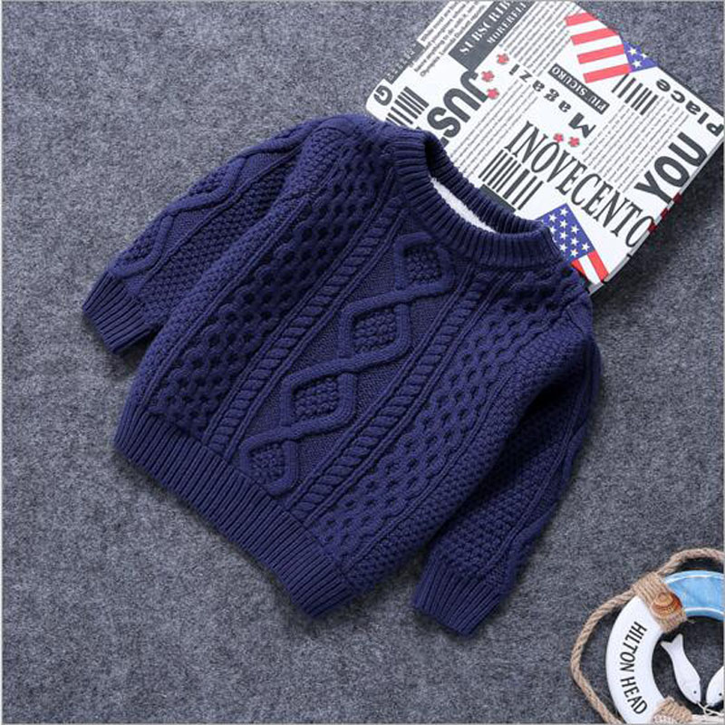 Baby Clothes O-Neck Warm Sweater Children Toddler Kids Pullovers plush velvet inside Winter Autumn Knit Loose Top for 1-15 years