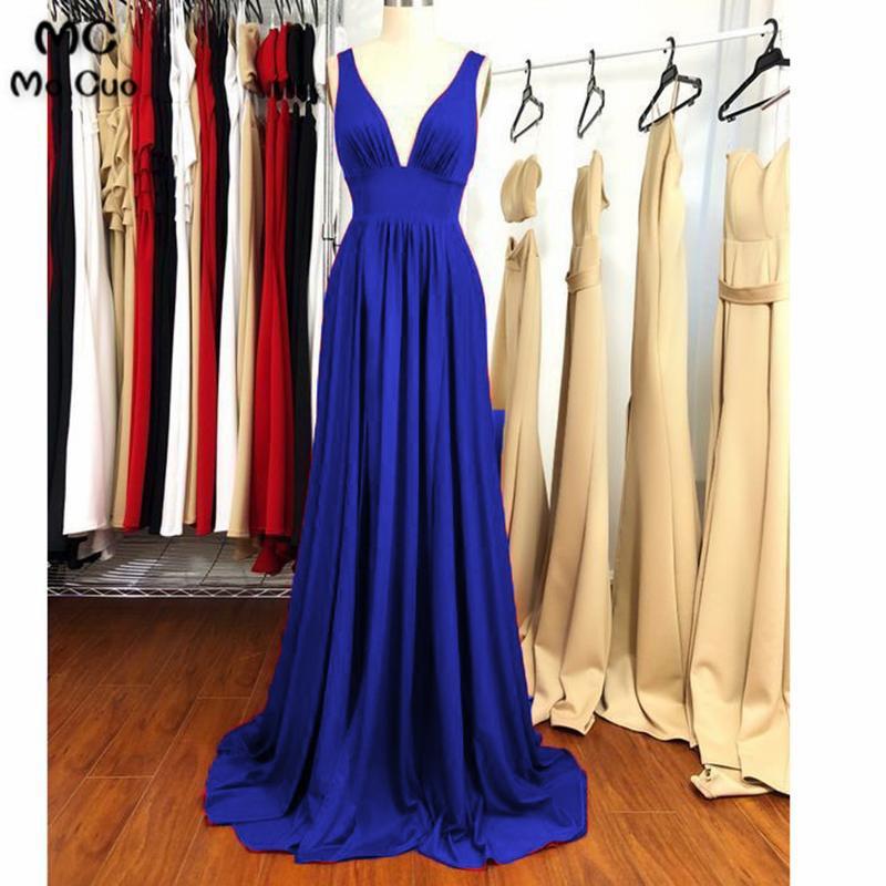 2018 Royer Blue   Evening     Dresses   Long Vestido Longo Chiffon Sleevelesss Sweep Train Deep V-Neck Tulle Formal   Evening   Party   Dress