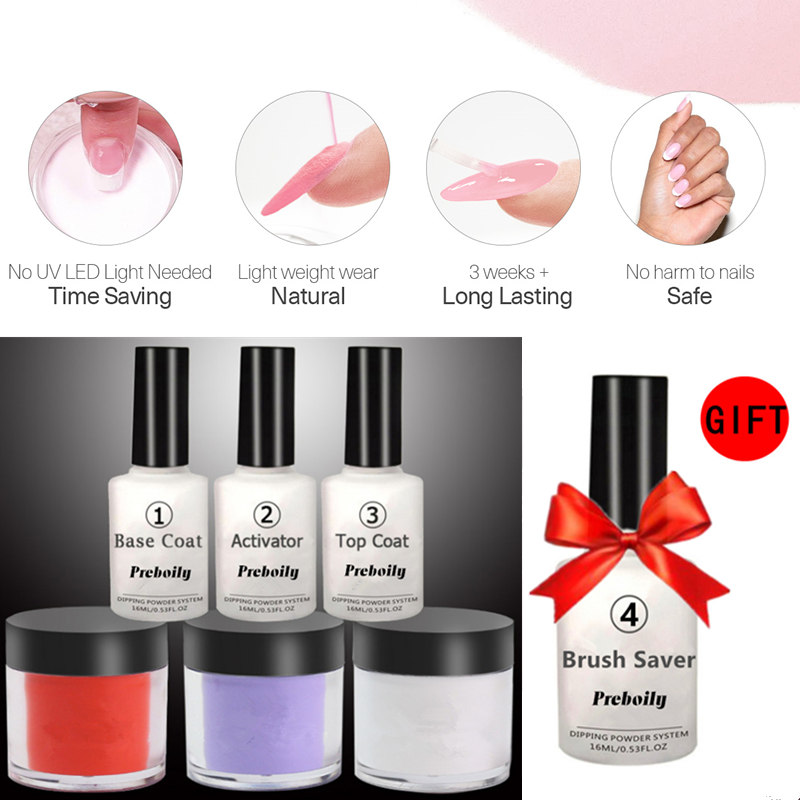 7 in 1 Dipping Powder Tool Kits Set 10g/Box French Manicure Pink White No Need Lamp Cure Dip Powder Nails Natural Dry Healthy lnk363pn dip 7