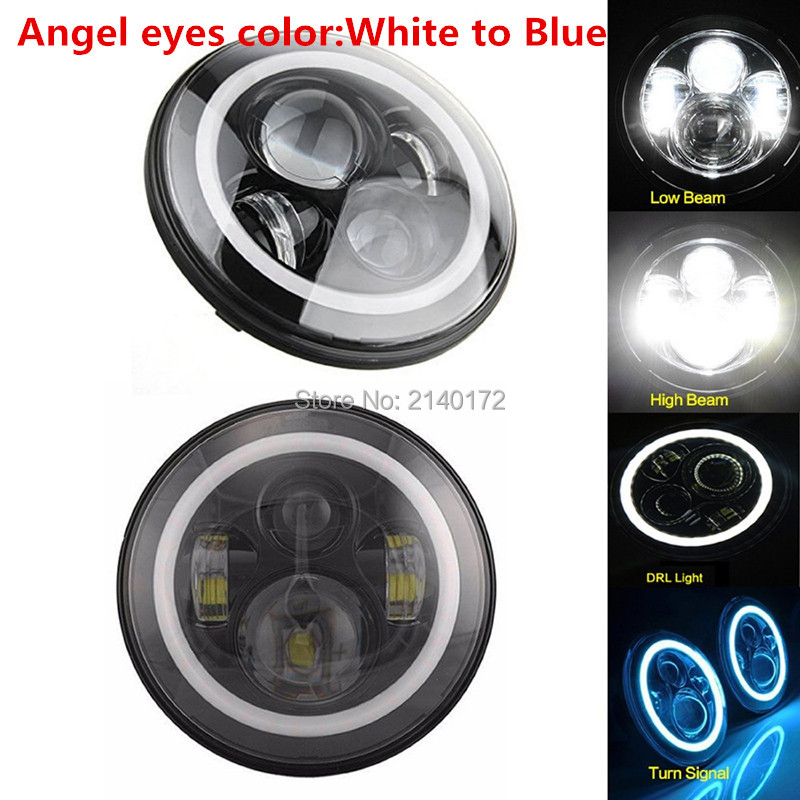 7INCH 7'' LED 40W Headlight Halo Angel eyes for Jeeps Wrangler JK TJ & Harley for Jeeps 97-15 Wrangler 7inch led motorcycle headlights 7 round 40w high low beam with angel eyes for 97 2015 jeeps wrangler jk