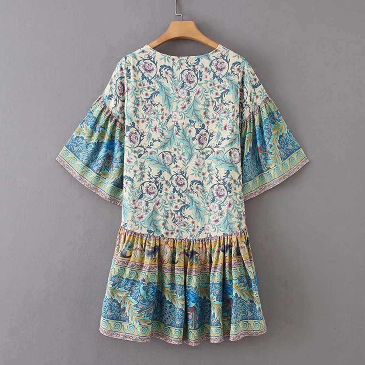 e23c8cffcace ... Jastie Gypsy Oasis Mini Dress Drop Waist Ruffle Hem Boho Beach Dresses  Pleated Sleeve Casual Women