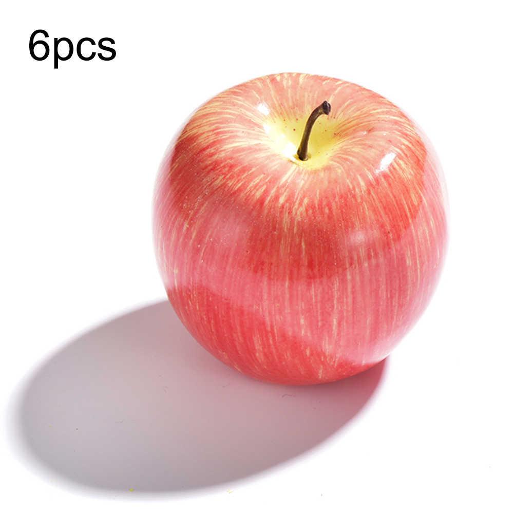 6 Pcs/set Buatan Merah Apel/Apel Hijau/Pir Palsu Simulasi Buah Rumah Dapur Kabinet Dekorasi Ornamen Kerajinan