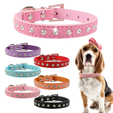 Rhinestones Dog Collar for Chihuhua Soft Suede Leather Small Dog Collars Crystal Cat Collar for Small