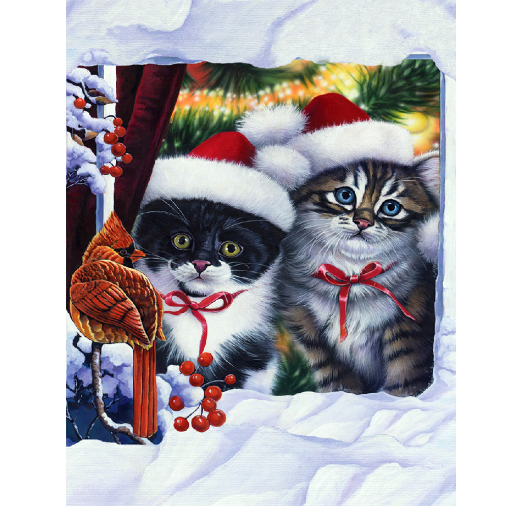 Moge diamond painting christmas cats flower birds embroidery cat Mosaic female set in winter
