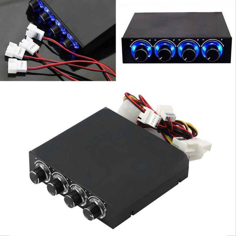 3.5inch PC Case PC HDD CPU 4 -Channel Fan Speed Controller With Blue LED Speed Fan Control Cooling Front Panel