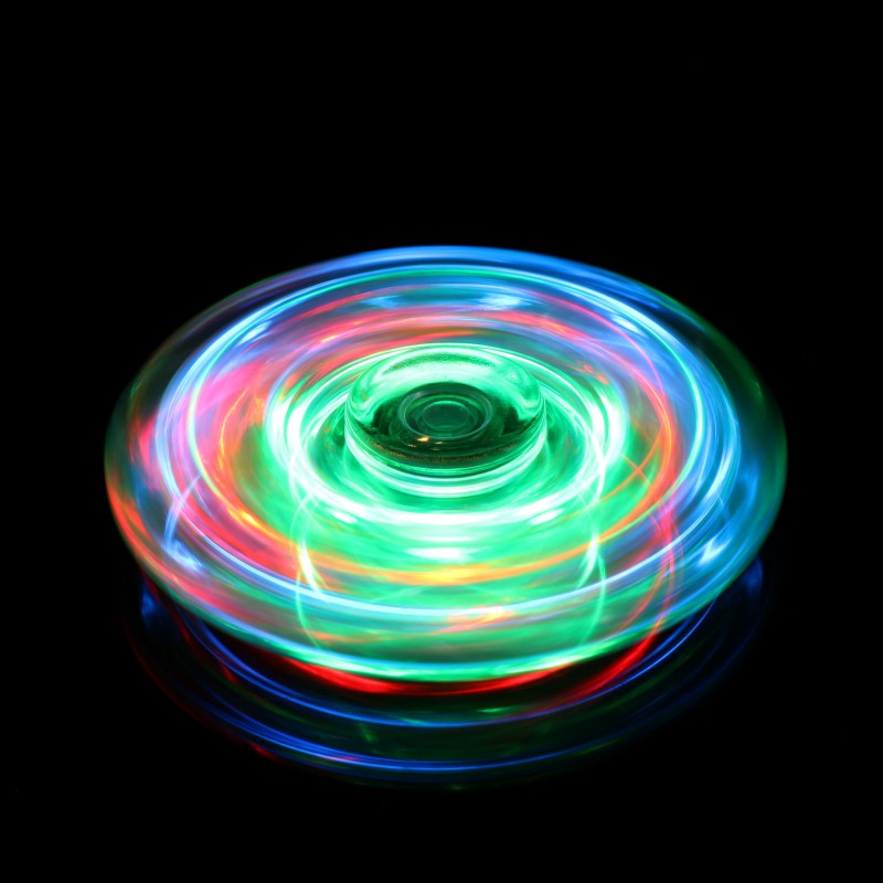Waterproof Colored Led Light Transparent Crystal ABS Fidget Spinner EDC Hand Spinner Bearing For Autism ADHD Anxiety Stress Toy cool printed flower colored abs children toy edc hand spinner for autism and adhd anxiety stress relief focus funny toys a
