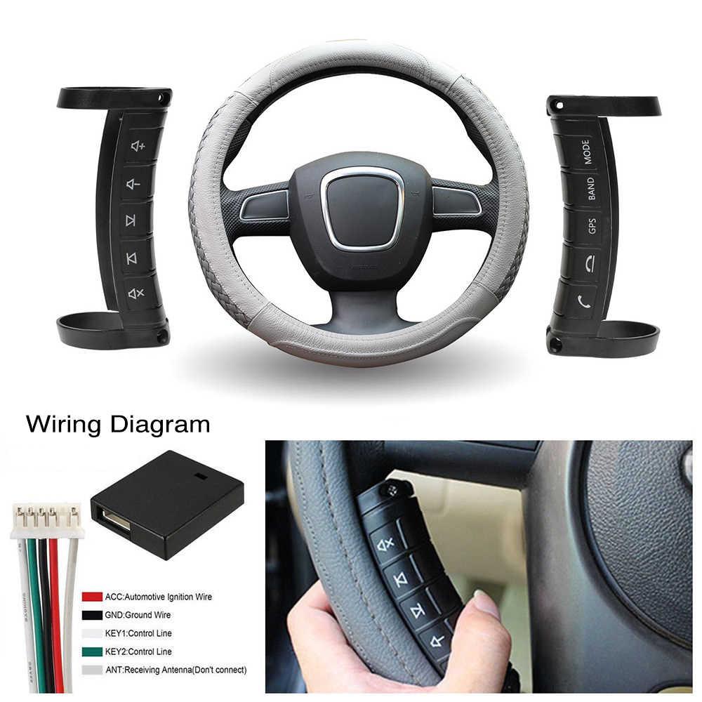 Podofo 車のステアリングホイールコントロール DVD 2din アンドロイド窓 Bluetooth ボタンユニバーサルワイヤレスステアリングホイールリモコン