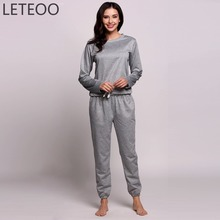 Фотография LETEOO Spring Sporting Track Suit Women Long Sleeve Sweatshirt Top and Pants Two 2 Piece Clothing Set Female Outfit Tracksuit L3