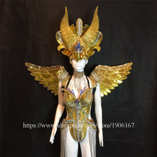 Fashion Carnival Gold Evening Dress Wings Catwalk Ds