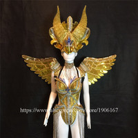 Fashion Carnival Gold Evening Dress Wings Catwalk DS Ballroom Costume Stage Performance Dance DJ Singer Cosplay TV Show Clothes