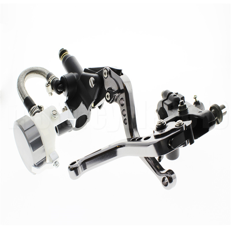 FXCNC  7/8 22mm Universal Motorcycle Brake Clutch Levers Master Cylinder Reservoir Set For YAMAHA FZ16 125-300CC Hydraulic Brake fxcnc universal stunt clutch easy pull cable system motorcycles motocross for yamaha yz250 125 yz80 yz450fx wr250f wr426f wr450