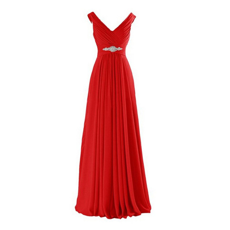 Holievery Pleated V Neck Long   Bridesmaid     Dresses   With Crystal 2019 Floor Length Party   Dress   Robe De Soiree