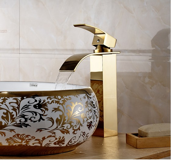 2016 New Arrival Luxury Gold Bathroom wash basin faucet / Modern Design Hot and Cold Water Waterfall Bronze Mixer Tap pastoralism and agriculture pennar basin india