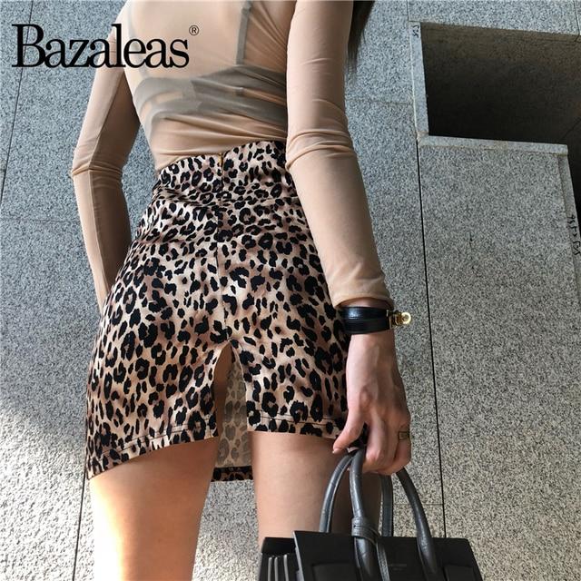 2cde614157 Bazaleas Vintage A-line Women Skirts Sexy Leopard print Mini Skirt Fashion  Back Split Skirts