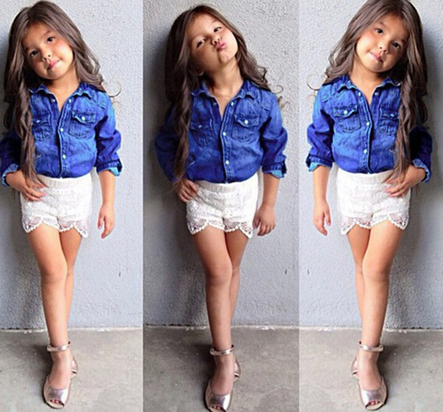 d3856f7e1391 Baby Girl Clothes Set Fashion Blue Jean Shirt +Cotton White Lace ...