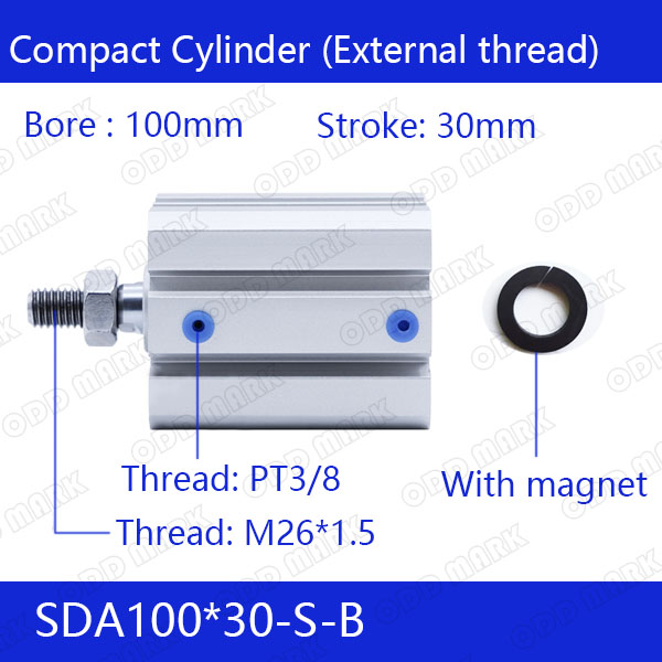 SDA100*30-B Free shipping 100mm Bore 30mm Stroke External thread Compact Air Cylinders Dual Action Air Pneumatic Cylinder sda100 35 b free shipping 100mm bore 35mm stroke external thread compact air cylinders dual action air pneumatic cylinder
