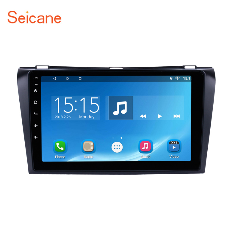 Seicane Android 6.0 2Din 9 inch Car DVD Multimedia Player For 2004 2005 2006 2007 2008 2009 Mazda 3 Quad-core 1024*600 GPS Wifi car for mazda 3 mazda3 2004 2005 2006 2007 2008 2009 accessories pedal brake accelerator footrest sticker manual mechanical mt