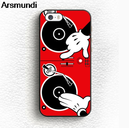 Arsmundi Cartoon Hand Dj Turn Table Phone Cases for iPhone 4S 5C 5S 6S 7 8 Plus X for Samsung NOTE Case Soft TPU Rubber Silicone