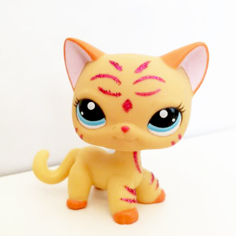 Pet Shop Cute Toys Real Standing #2118 Genuine Short Hair Cat Yellow Sparkle Glitter Kitty Child Gift