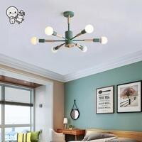Цветные железного дерева потолочный светильник Nordic Современная подвесной светильник Lustre Plafon для фойе гостиная спальня E27 лампы